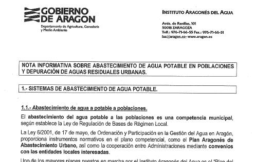 Nota informativa sobre abastecimiento de agua potable en poblaciones y depuración de aguas residual 19/12/2012